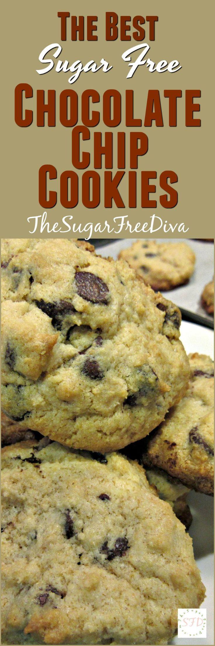 The Best Sugar Free Chocolate Chip Cookies- YUM!! This recipe is so good too!!! #chocolate #cookies #dessert #easy #sugarfree #recipe