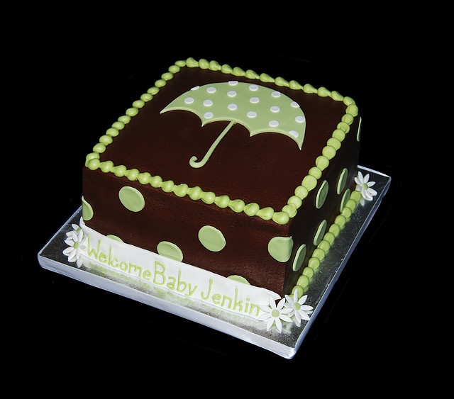 sage green polka dot umbrella baby shower cake by Simply Sweets, via Flickr
