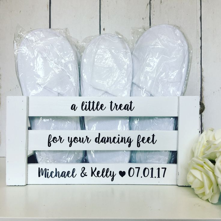 A Little Treat For Your Dancing Feet | Personalised | Wedding | Wooden | Crate | Box | Slippers | Flip Flops | Rustic | Gifts and Cards  If you're planning on dancing the night away on your big day, you'll want to make sure your guests are comfy.  Fill this Personalised Box with slippers or