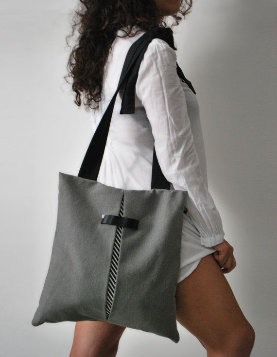 Convertible backpack Crossbody bag Gray waterproof canvas bag Chic light bag Handmade women bag Stylish college bag Unique gift for her