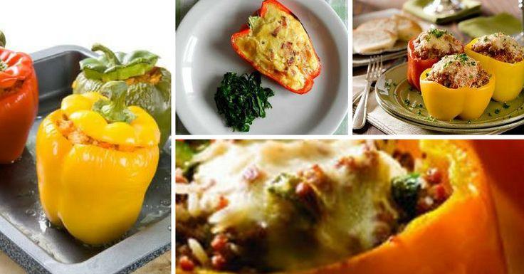 Receita de Pimentos Recheados com Cogumelos e Carne - http://topreceitasfaceis.com/receita-pimentos-recheados-cogumelos-carne/
