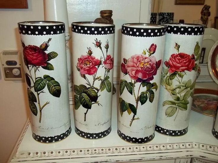 latas  shabby chic , rosas, decorativas, vintage, antigua