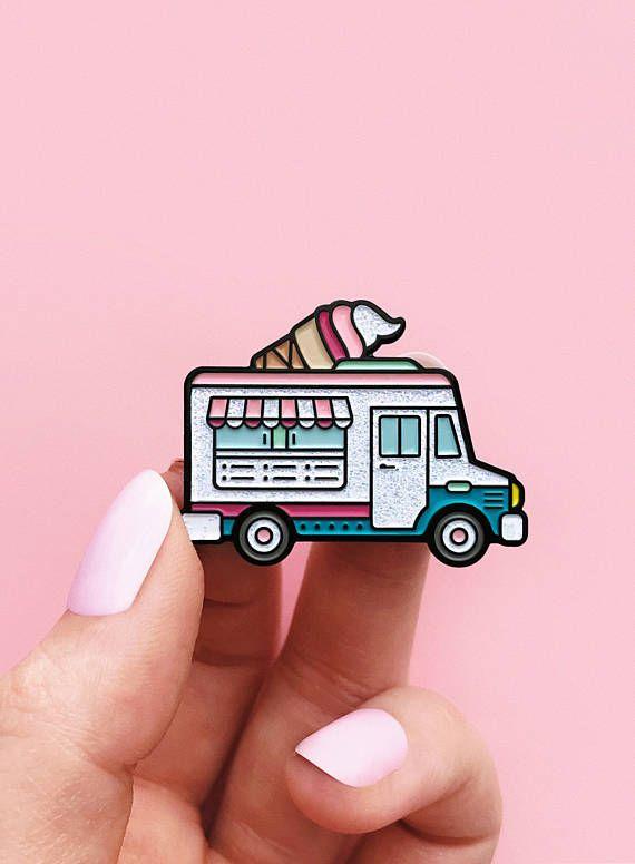 Ice cream truck, enamel pin, glitter