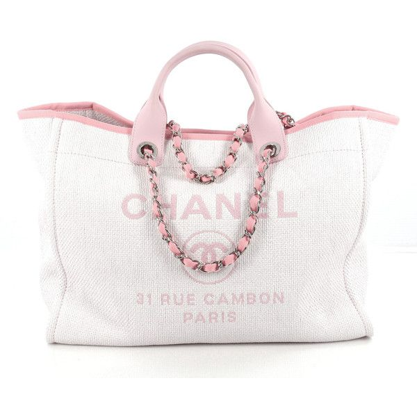 Deauville Chain Tote Canvas Large ($3,050) ❤ liked on Polyvore featuring bags, handbags, tote bags, white tote, woven tote, canvas tote bags, white canvas tote and zip tote bag