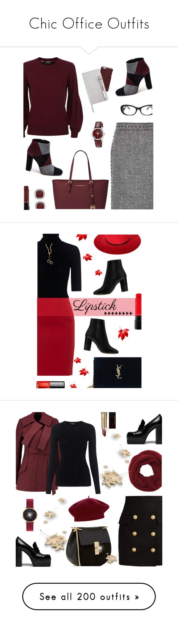 """Chic Office Outfits"" by amyfernandez010 ❤ liked on Polyvore featuring Valentino, Burberry, Prada, Michael Kors, Roberto Festa, MAC Cosmetics, Maison Margiela, ICE London, Tissot and michaelkors"