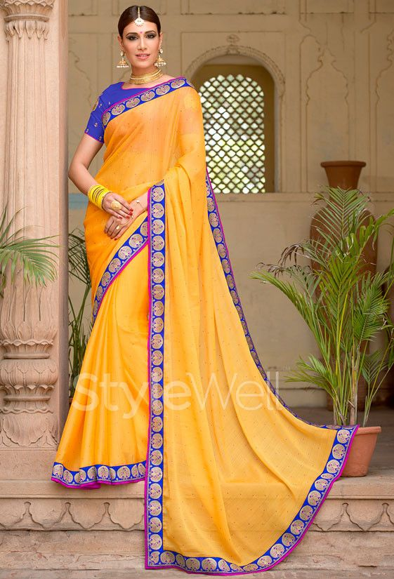 Charming Yellow Chiffon Saree