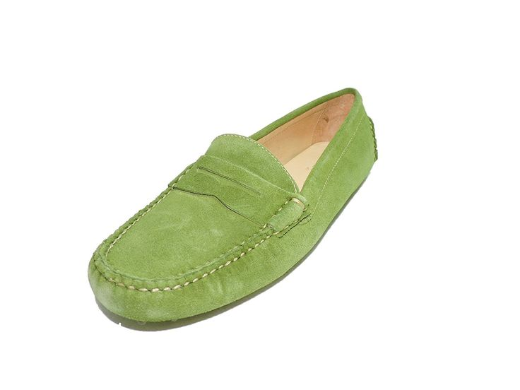 Peter Millar Verde Women's Green Suede Leather Driving Moccasins Slip-on Penny Loafers Boat Shoes Flats -- You can find more details by visiting the image link.