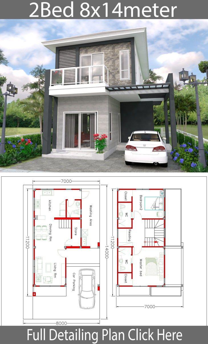 House Design 8x14m With 2 Bedrooms Samphoas Com Home Design Plans House Design Home Building Design