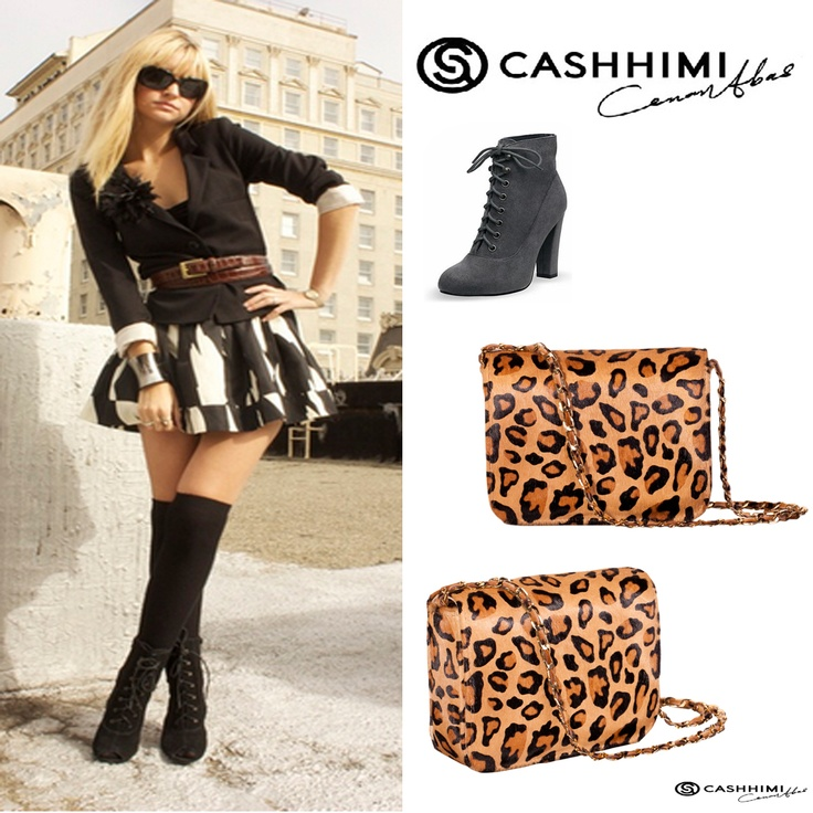 Cashhimi Leopard DOWNING Leather Clutch