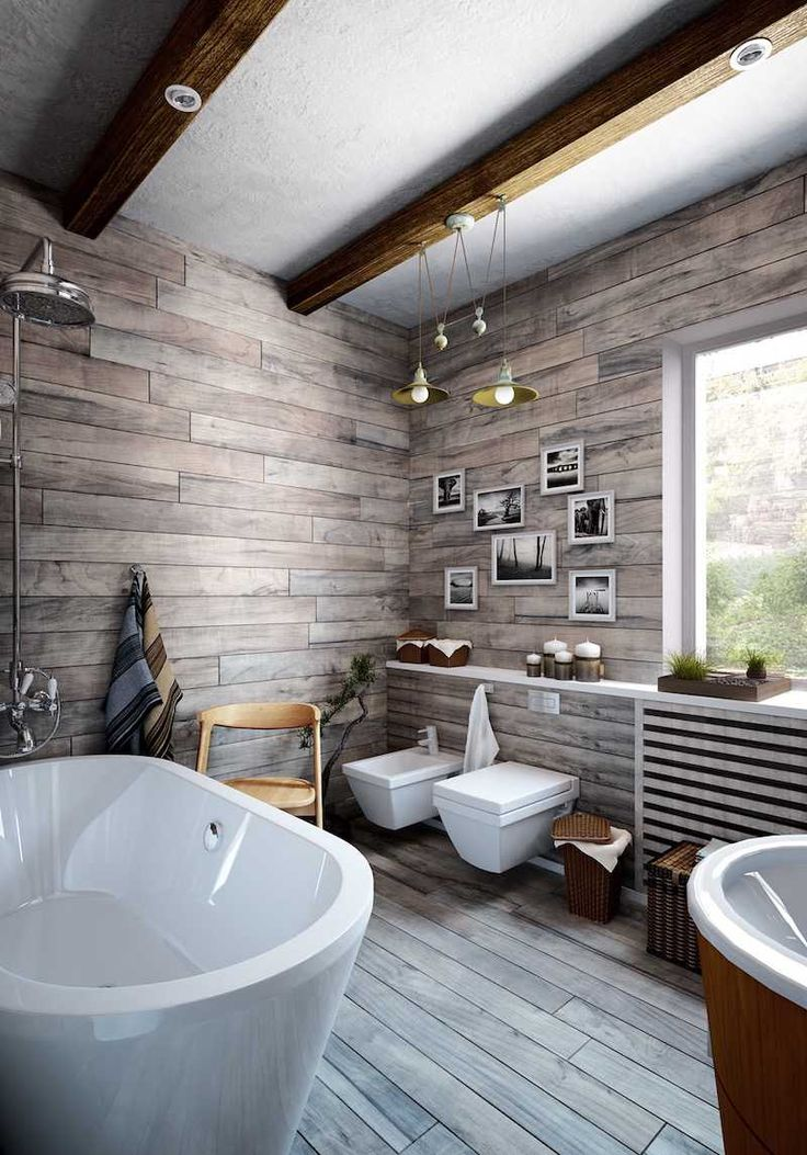 idée déco salle de bain bois gris - plancher, revêtement mural et solives apparentes