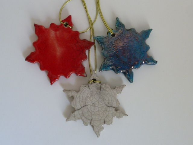 Small Snowflake in White, red and turqoise Raku glaze with golden cord - approx 6 cm