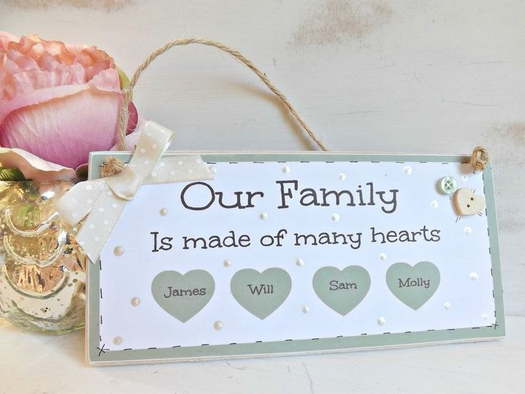 Personalised Family Plaque Sign Handmade Home New Home Gift Shabby chic in Home, Furniture & DIY, Home Decor, Plaques & Signs | eBay
