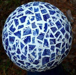 The ART and Musings of ShellyRaeWood: Repurposed and Recycled bowling ball to gazing ball using blue willow plates
