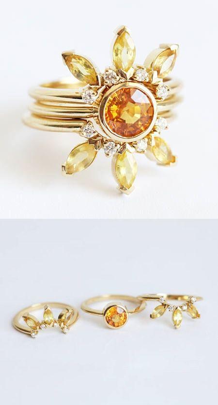 Sun Ring Set, Unique Sapphire Engagement Ring Set, Yellow Sapphire Ring, Bohemian Engagement Ring Set, Unique Engagement Ring Set, Bridal