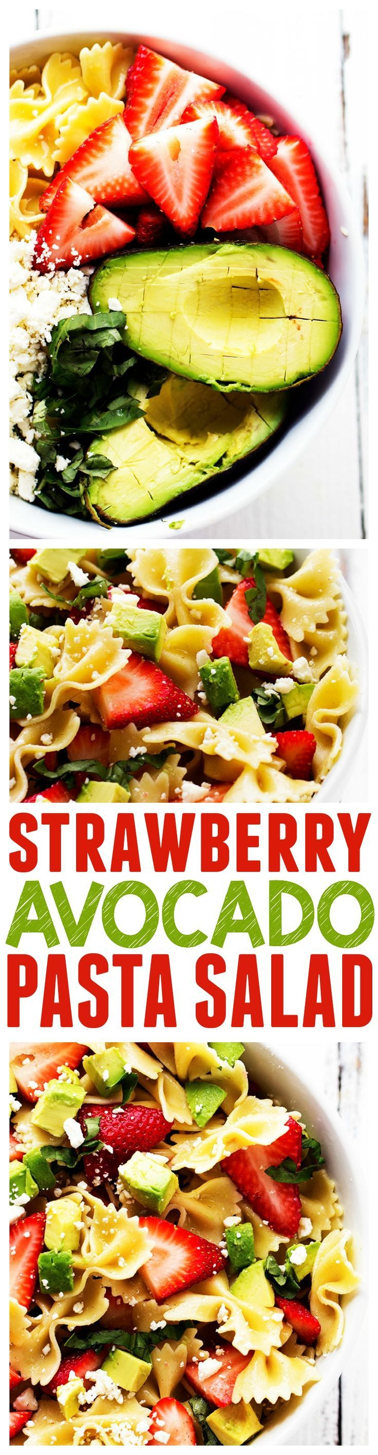 This Strawberry Avocado Pasta Salads is one unforgettable salad!!! Strawberries, Avocados, Basil and Feta Cheese come together to create the BEST pasta salad!!