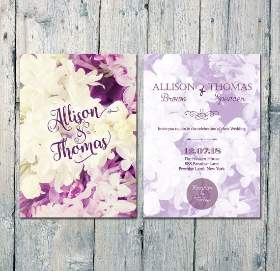 Romantic #Purple #Lilac #wedding #invitation #card by WeddingSundaeShop #etsy