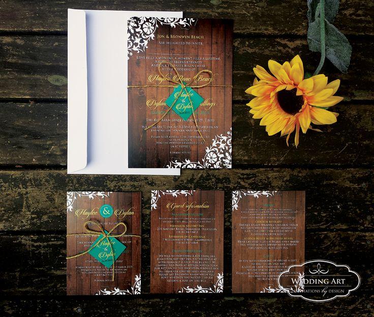 Rustic wooden wedding invitations