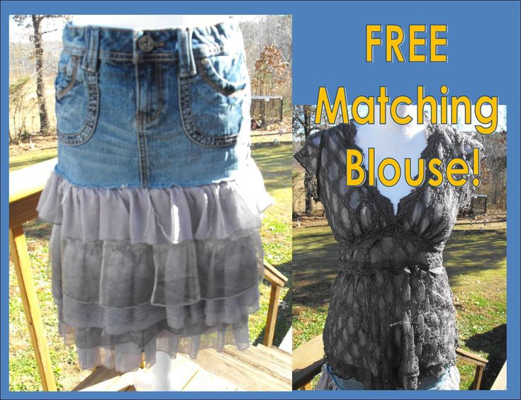 Country Western Denim and Ruffled Grey & Silver Lace Refashioned Skirt Stevie Nicks BOHO Hippie W FREE Blouse Size 7 Punk Rock Denim layered by LRFashionDesigns on Etsy
