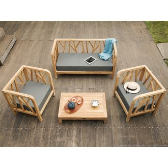 Salon de jardin Teck Brut : 1 canapé + 2 fauteuils + table basse COSTOLA Ermanno G port offert