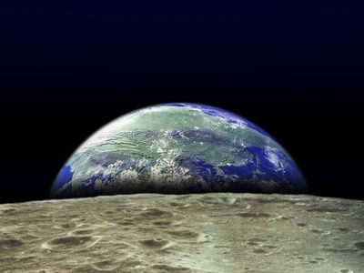 Earth Rising Over Moon Surface Photographic Print at AllPosters.com
