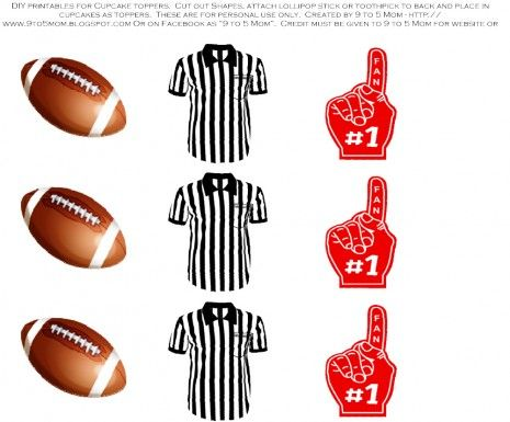 Free football tailgater printable cupcake toppers! See more party ideas at CatchMyParty.com. #freeprintables #football #partyideas