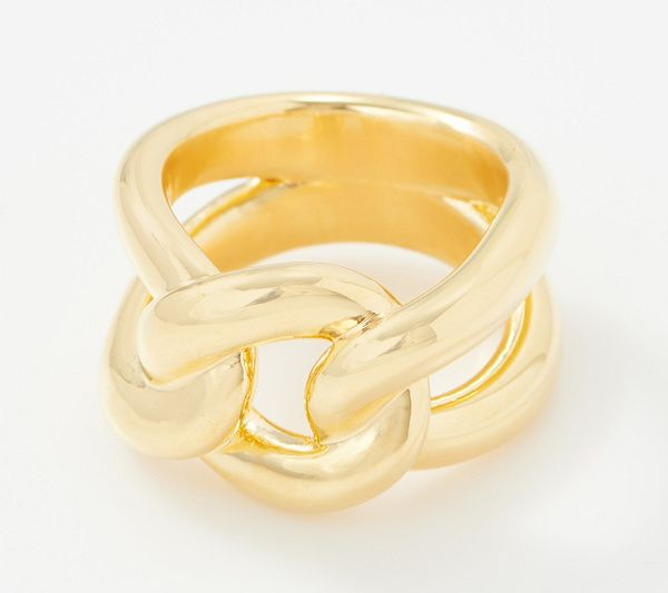 Bold Curb Link Band Ring 14k Gold