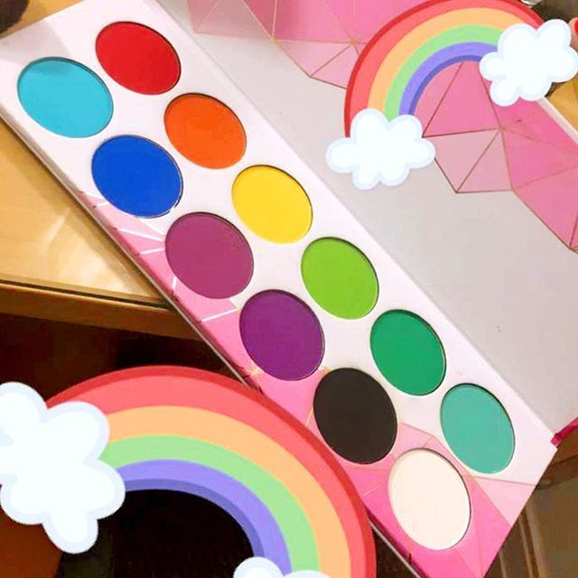 Rainbows on rainbows of color!  #Sugarpill #ProPalette featuring the colors (L-R): Love+, Flamepoint, Buttercupcake, Acidberry, Midori, Mochi, Kim Chi, Velocity, 2AM, Poison Plum, Bulletproof, Tako.