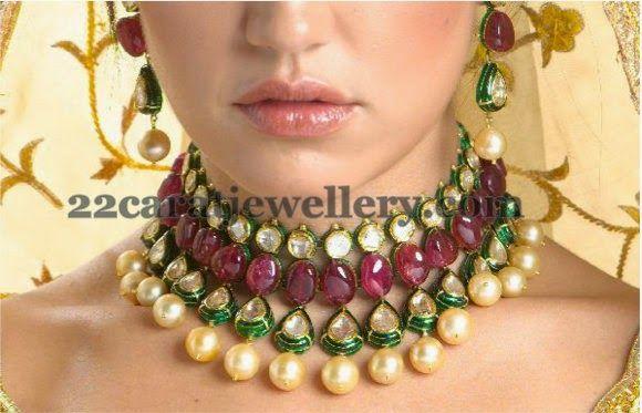 Jewellery Designs: kundan necklace
