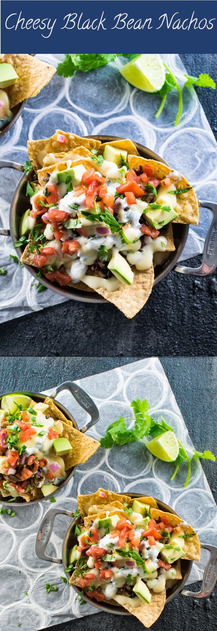 Cheesy Black Bean Nachos | These vegetarian black bean nachos are topped with a creamy cheese sauce, avocado and pico de gallo to ensure tasty goodness in every bite!  They make a great game day appetizer or easy weeknight dinner.