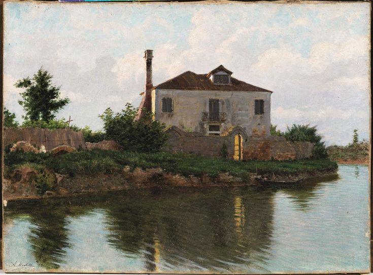 """Angelo Morbelli, """"Tramonto sul canale di Mazzorbo"""" (1912; olio su tela, 40 x 55 cm; Casa d'Aste Pandolfini 2013)."""