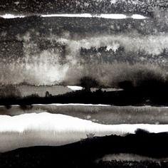 Féérie en noir et blanc - tableau paysage à l'encre de chine 20x20 cm contrecollée canson noir sous cadre de verre à bords