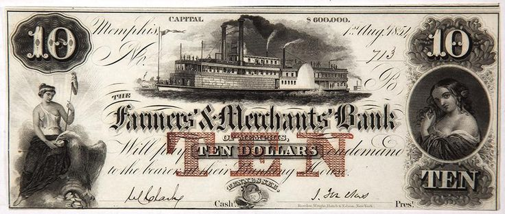 Tennessee Obsolete Currency Farmers and Merchants Bank Ten Dollar Note