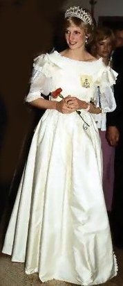 June 15 1983 The Prince and Princess of Wales attending a banquet given by Prime Minister Trudeau at Halifax. She is wearing a dress by fashion designer Gina Fratini