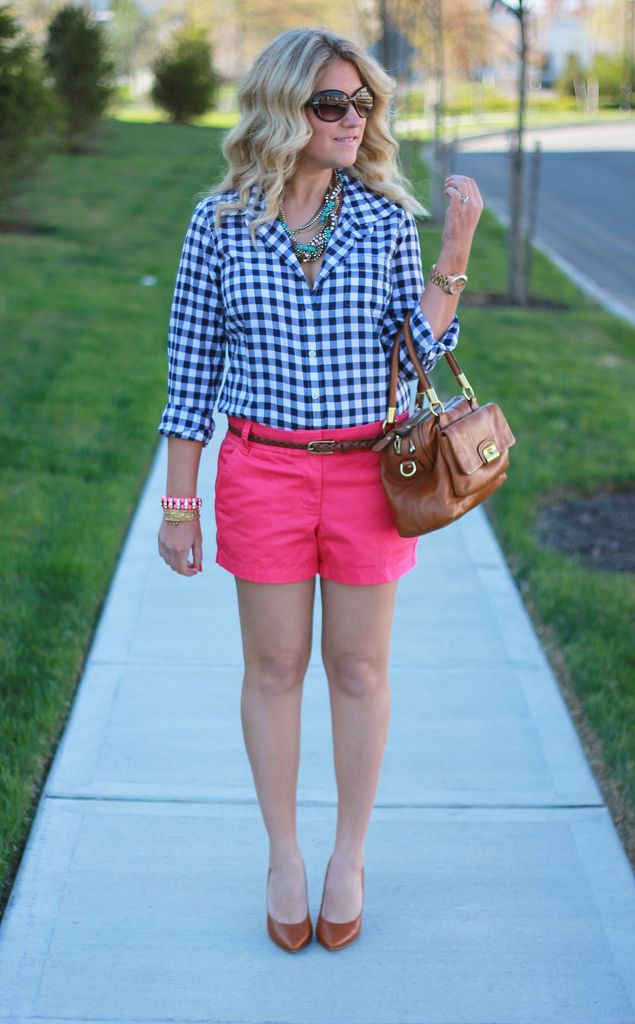 Pink Shorts Gingham Shirt | Things To Wear - Summer | Pinterest