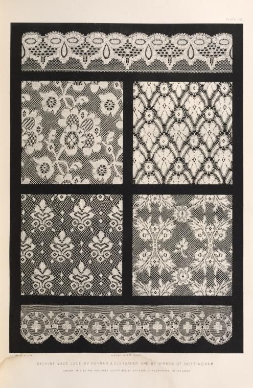Machine made lace by Heyman & Alexander and by Birken of Nottingham. (1852)