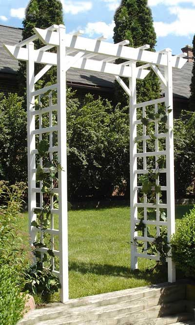 Dura-Trel Create a tranquil sanctuary in your garden with the Dura-Trel Providence Arbor. Simple latticework on each side panel leads to a dramatic, flat top. Overhanging vertical rails along the top