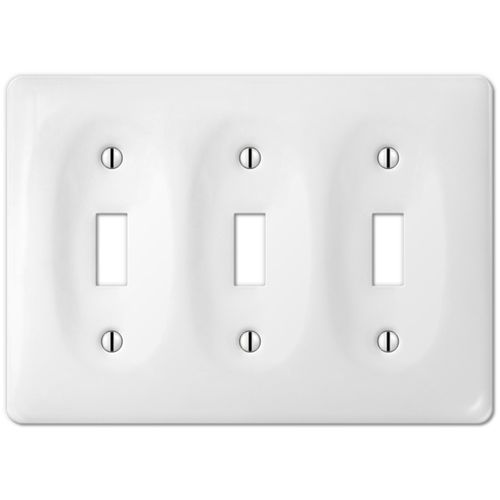 white porcelain toggle switchplate ceramic wall plate outlet rocker light switch
