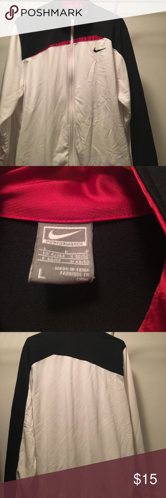 Men's large Nike zip up jacket White with black and red accent zip up jacket! Great for cold summer nights or fall. Nike Jackets & Coats Lightweight & Shirt Jackets