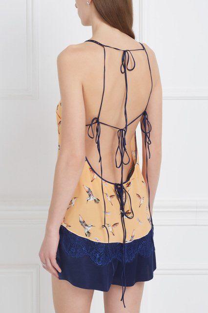Шелковый топ «Птички» Esve - Топ на тонких бретельках сделан из натурального шелка персикового цвета в интернет-магазине модной дизайнерской и брендовой одежды