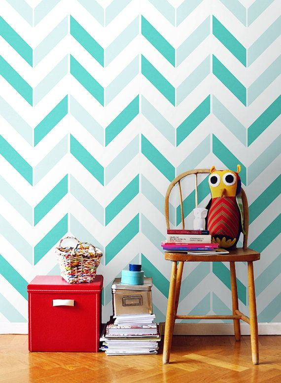 Chevron pattern self adhesive vinyl wallpaper d003 by for Chevron template for walls