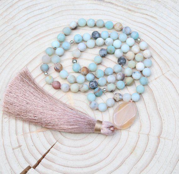 Mala Necklace 108 Beads Mala Amazonite Gemstone Necklace Mala