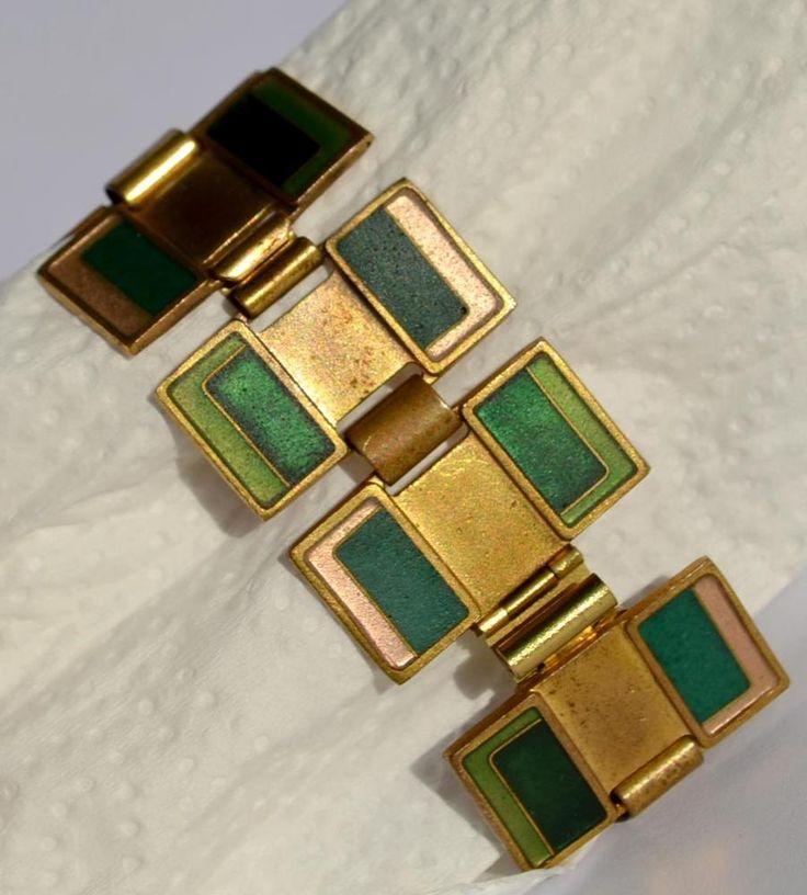 Vintage Armband Modernist Enamel Schibensky Scholz Lammel Bracelet Germany