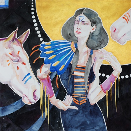 Artwork by Anne Smerdon Ngahuia, protector of horses - 2013 Watercolour, gouache and gold paint on paper - framed 75 x 75 cm