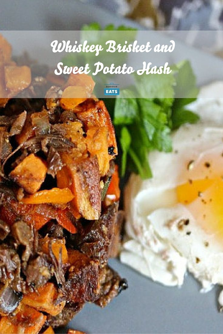 This version of potato hash combines tender, whiskey-marinated brisket with sweet potatoes and Serrano peppers for a blast of sweet heat. A touch of maple syrup and dash of Worcestershire tie the whole thing together.