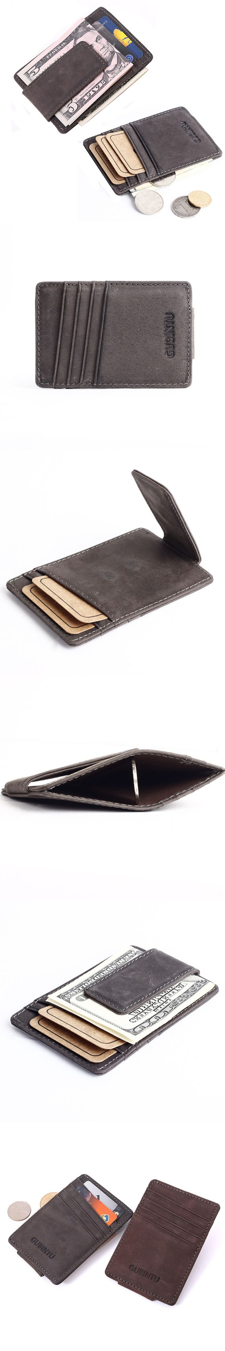 New arrival Vintage Nubuck Genuine leather Men money clip wallet with card slots simple designer magnet clamp purse for male $15.96