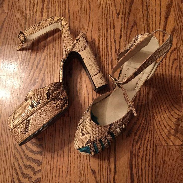 Vintage 70s Glam Rock Snakeskin Terry De Havilland Platform Shoes