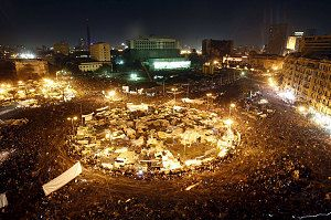 Anti-government protesters in Cairo's Tahrir Square in 2011