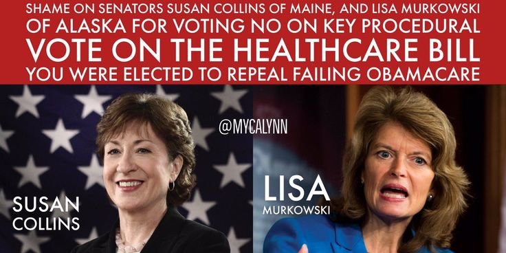 https://twitter.com/nancylee2016/status/890162138937004032 America is back!‏ @nancylee2016  These two TRAITORS Lisa Murkowski (R-AK) & Susan Collins (R-ME) must not receive one penny Republican money or Republican Support.