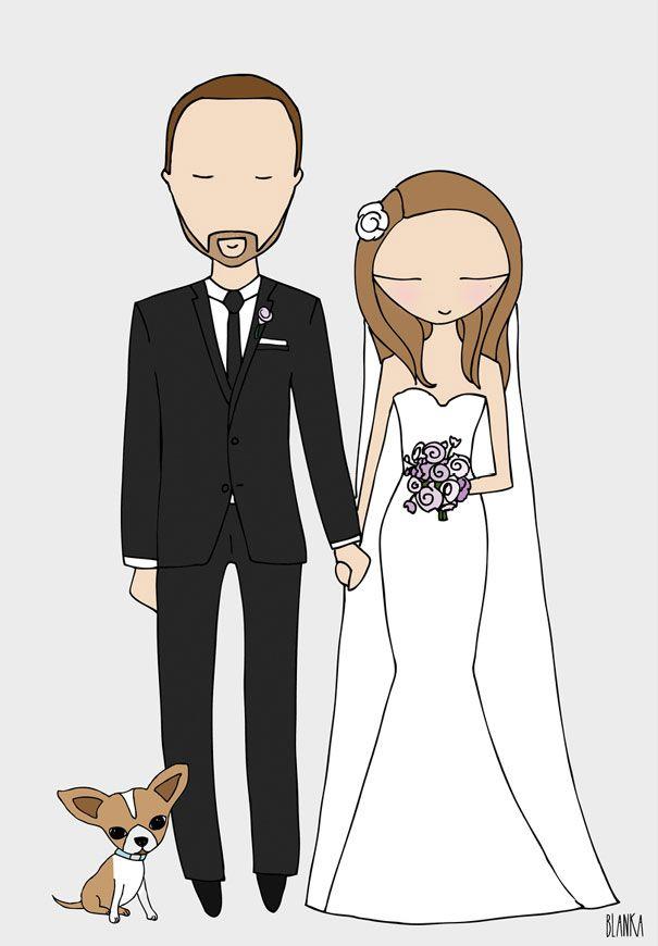 blanka-biernet-custom-couple-illustration-etsy-bride-groom ...
