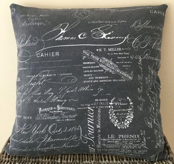 Gunmetal grey handmade cushion with white vintage script  18